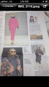 Me in the Toronto Star on the bottom right corner. Featured with Pink Tartan and Bustle models!